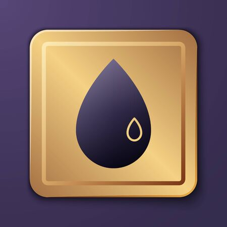 Purple Oil drop icon isolated on purple background. Gold square button. Vector Illustration