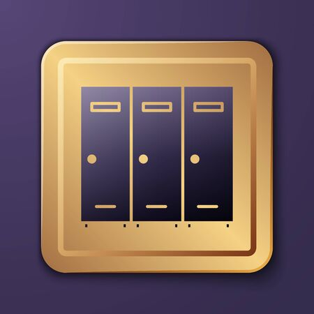 Purple Locker or changing room for hockey, football, basketball team or workers icon isolated on purple background. Gold square button. Vector Illustration