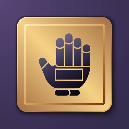 Purple Hockey glove icon isolated on purple background. Sports playing and training protective gloves on hands. Gold square button. Vector Illustration