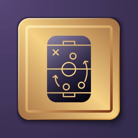 Purple Planning strategy concept icon isolated on purple background. Hockey cup formation and tactic. Gold square button. Vector Illustration