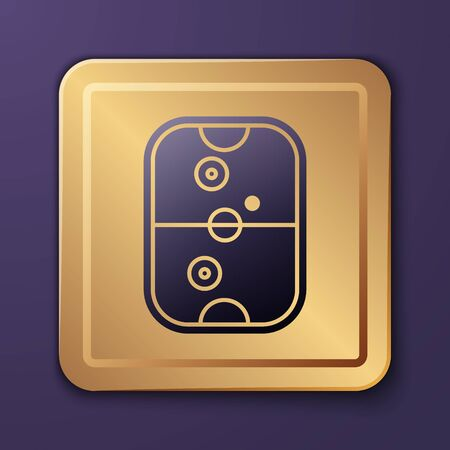 Purple Air hockey table icon isolated on purple background. Gold square button. Vector Illustration