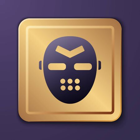 Purple Hockey mask icon isolated on purple background. Gold square button. Vector Illustration