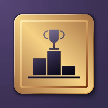 Purple Hockey over sports winner podium icon isolated on purple background. Gold square button. Vector Illustration