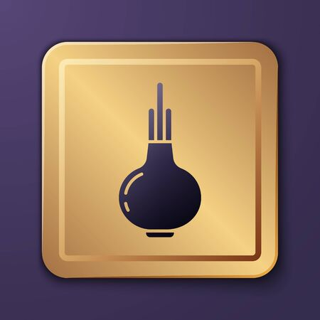 Purple Onion icon isolated on purple background. Gold square button. Vector Illustration