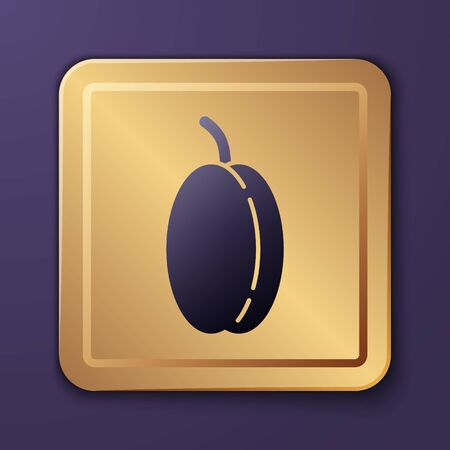 Purple Plum fruit icon isolated on purple background. Gold square button. Vector Illustration