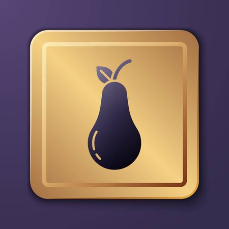 Purple Pear icon isolated on purple background. Fruit with leaf symbol. Gold square button. Vector Illustration