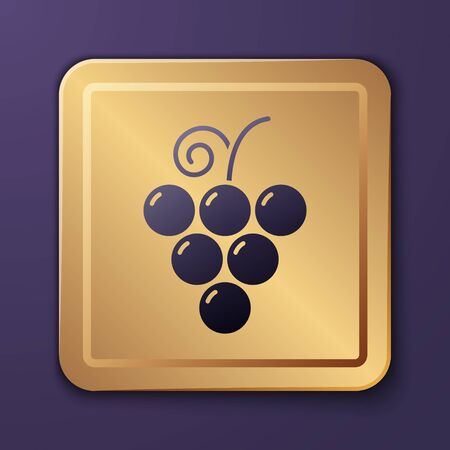 Purple Grape fruit icon isolated on purple background. Gold square button. Vector Illustration