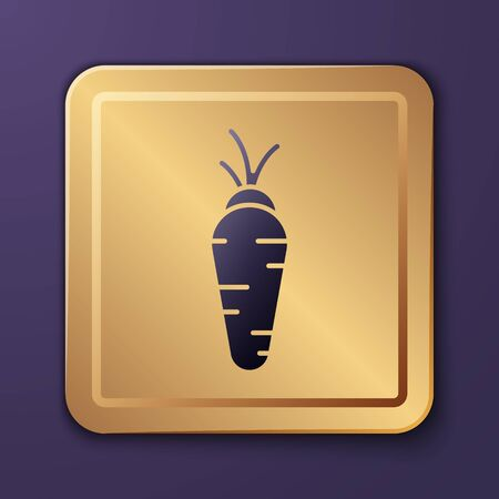 Purple Carrot icon isolated on purple background. Gold square button. Vector Illustration