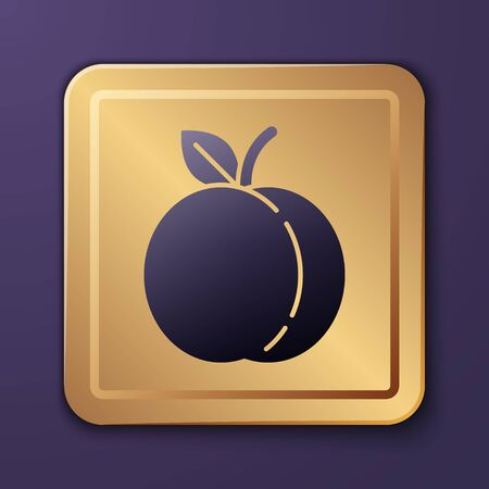 Purple Peach fruit or nectarine with leaf icon isolated on purple background. Gold square button. Vector Illustration