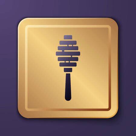 Purple Honey dipper stick icon isolated on purple background. Honey ladle. Gold square button. Vector Illustration  イラスト・ベクター素材