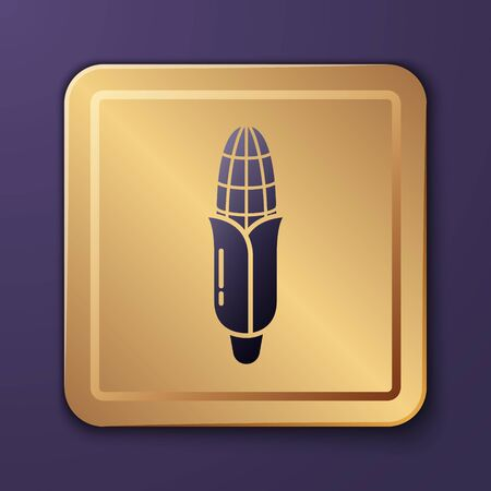 Purple Corn icon isolated on purple background. Gold square button. Vector Illustration Иллюстрация