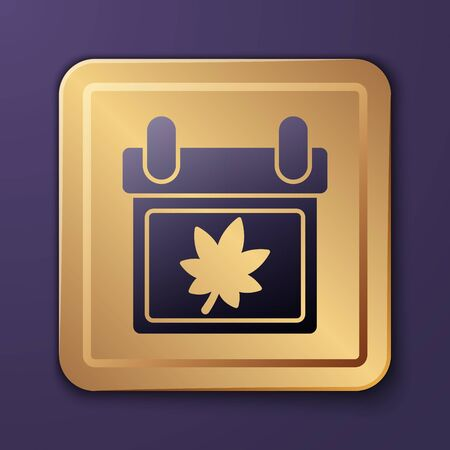 Purple Calendar with autumn leaves icon isolated on purple background. Gold square button. Vector Illustration