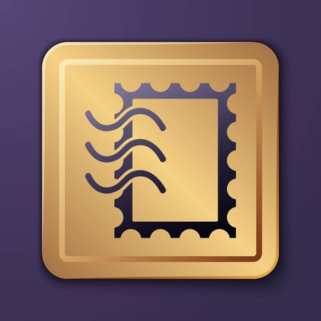 Purple Postal stamp icon isolated on purple background. Gold square button. Vector Illustration