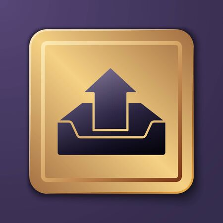 Purple Upload inbox icon isolated on purple background. Gold square button. Vector Illustration