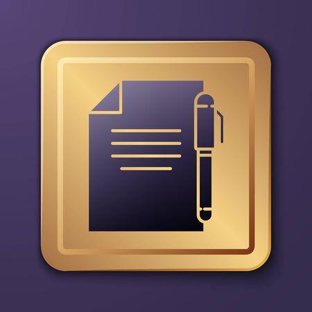 Purple Document and pen icon isolated on purple background. File icon. Checklist icon. Business concept. Gold square button. Vector Illustration Ilustrace