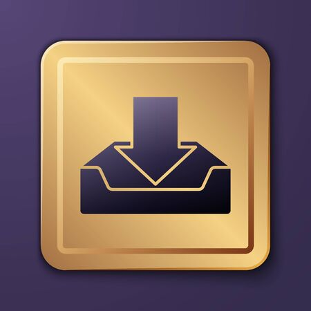 Purple Download inbox icon isolated on purple background. Gold square button. Vector Illustration