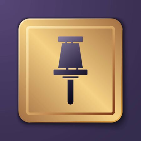 Purple Push pin icon isolated on purple background. Thumbtacks sign. Gold square button. Vector Illustration