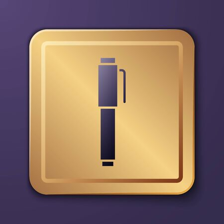 Purple Pen icon isolated on purple background. Gold square button. Vector Illustration
