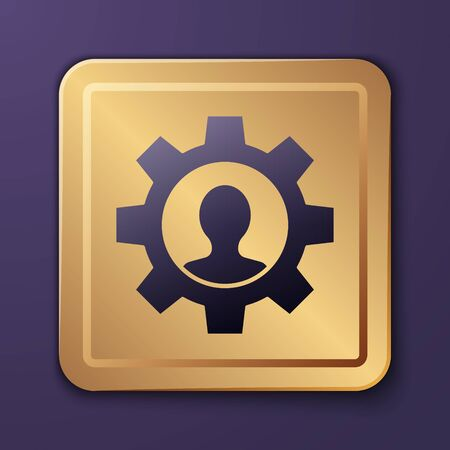 Purple Human with gear inside icon isolated on purple background. Artificial intelligence. Thinking brain sign. Symbol work of brain. Gold square button. Vector Illustration