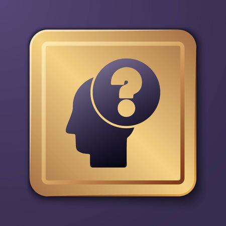 Purple Human head with question mark icon isolated on purple background. Gold square button. Vector Illustration Stock Illustratie