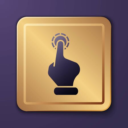 Purple Hand holding casino chips icon isolated on purple background. Casino gambling. Gold square button. Vector Illustration