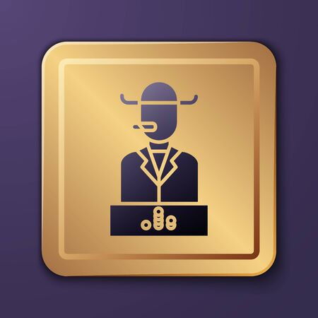 Purple Poker player icon isolated on purple background. Gold square button. Vector Illustration