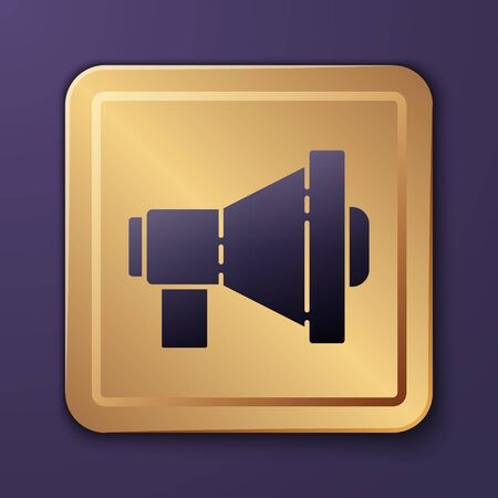 Purple Megaphone icon isolated on purple background. Loud speach alert concept. Bullhorn for Mouthpiece scream promotion. Gold square button. Vector Illustration