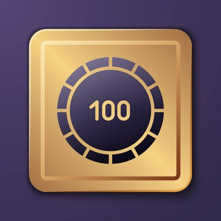 Purple Casino chips icon isolated on purple background. Casino gambling. Gold square button. Vector Illustration