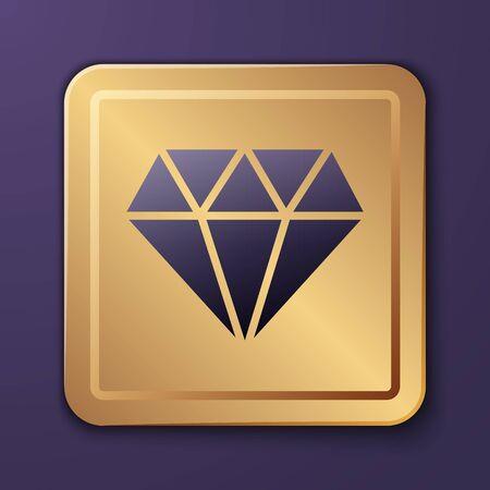 Purple Diamond icon isolated on purple background. Jewelry symbol. Gem stone. Gold square button. Vector Illustration