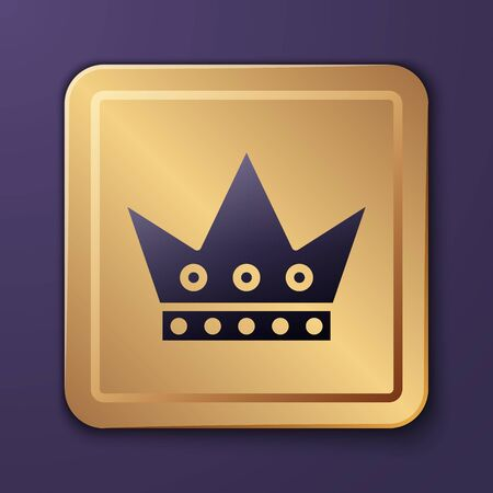 Purple King playing card icon isolated on purple background. Casino gambling. Gold square button. Vector Illustration