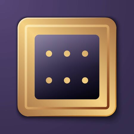 Purple Game dice icon isolated on purple background. Casino gambling. Gold square button. Vector Illustration