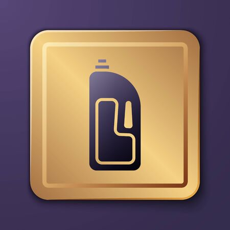 Purple Container with drain cleaner icon isolated on purple background. Detergent in plastic bottle. Gold square button. Vector Illustration Stock Illustratie