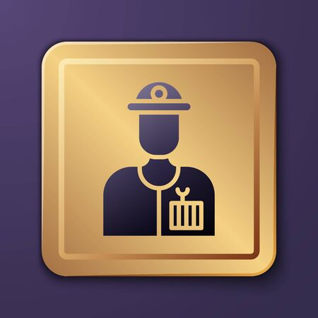 Purple Plumber icon isolated on purple background. Gold square button. Vector Illustration