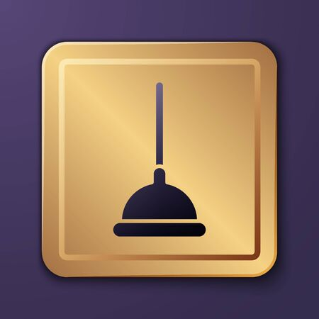 Purple Rubber plunger with wooden handle for pipe cleaning icon isolated on purple background. Toilet plunger. Gold square button. Vector Illustration