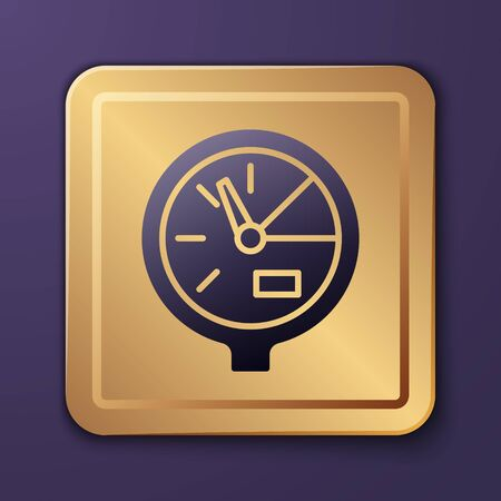 Purple Water meter icon isolated on purple background. Gold square button. Vector Illustration Illusztráció