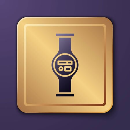 Purple Water meter with pipeline icon isolated on purple background. Gold square button. Vector Illustration