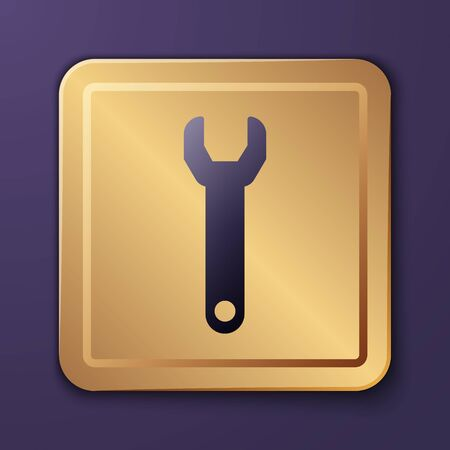 Purple Wrench spanner icon isolated on purple background. Gold square button. Vector Illustration