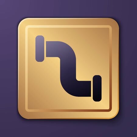 Purple Industry metallic pipe icon isolated on purple background. Plumbing pipeline parts of different shapes. Gold square button. Vector Illustration Stock Illustratie