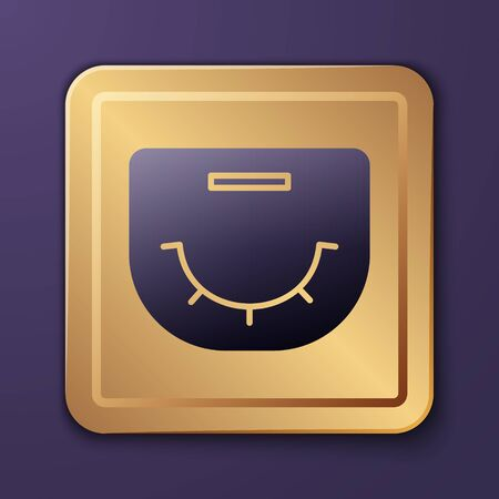 Purple Poker table icon isolated on purple background. Gold square button. Vector Illustration