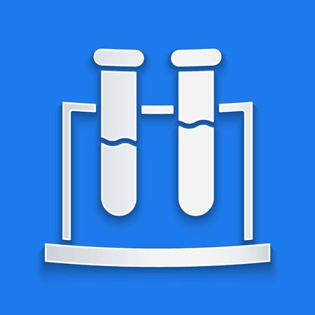 Paper cut Test tube and flask chemical laboratory test icon isolated on blue background. Laboratory glassware sign. Paper art style. Vector Illustration  イラスト・ベクター素材