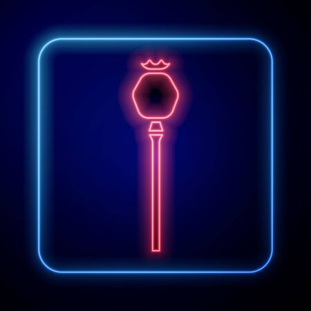 Glowing neon Opium poppy icon isolated on blue background. Vector Illustration