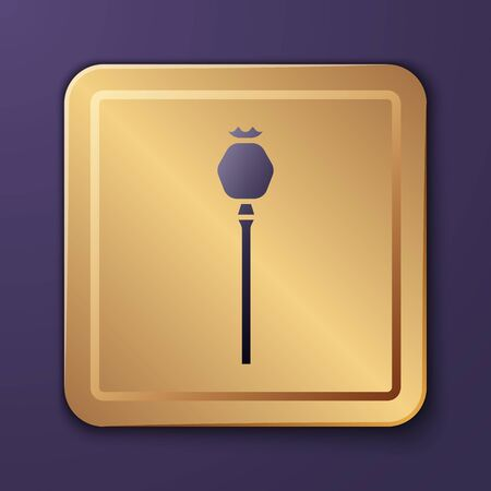 Purple Opium poppy icon isolated on purple background. Gold square button. Vector Illustration