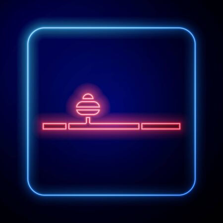 Glowing neon Opium pipe icon isolated on blue background. Vector Illustration