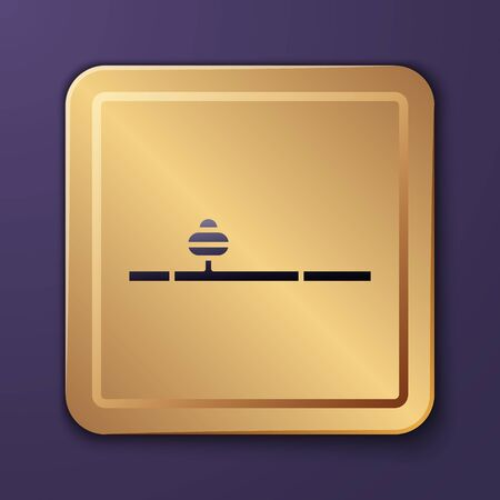 Purple Opium pipe icon isolated on purple background. Gold square button. Vector Illustration