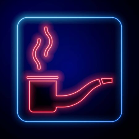 Glowing neon Smoking pipe with smoke icon isolated on blue background. Tobacco pipe. Vector Illustration