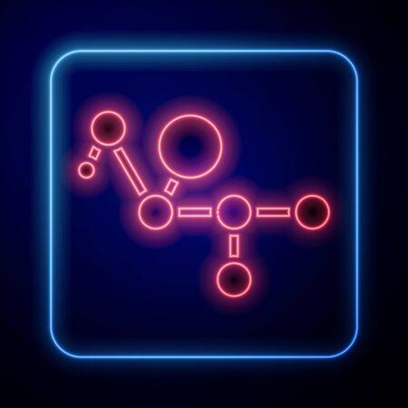 Glowing neon Cannabis molecule icon isolated on blue background. Cannabidiol molecular structures, THC and CBD formula. Marijuana or cannabis. Vector Illustration