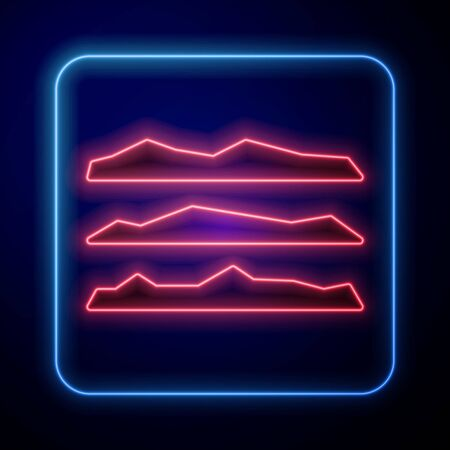 Glowing neon Strips of cocaine or heroin drug icon isolated on blue background. Vector Illustration