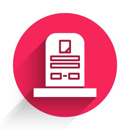 White Tombstone with RIP written on it icon isolated with long shadow. Grave icon. Red circle button. Vector Illustration
