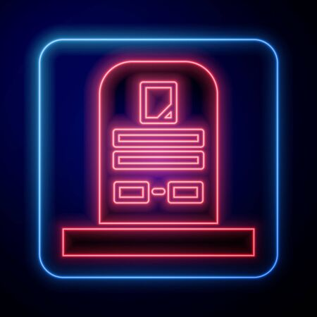 Glowing neon Tombstone with RIP written on it icon isolated on blue background. Grave icon. Vector Illustration Ilustracja