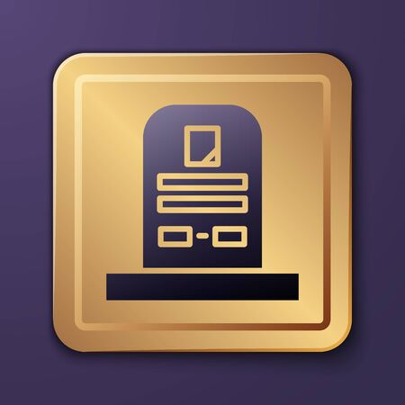 Purple Tombstone with RIP written on it icon isolated on purple background. Grave icon. Gold square button. Vector Illustration